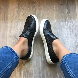 Top shop slip on snake skin faux leather shoes